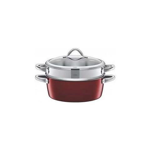 Pentola per cottura vapore 28cm 5,9lt rosso vitaliano 24cm silargan