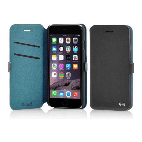 FONEX Elegance Book Custodia a Libro per Iphone 6/6S Bicolore Grigio Scuro / Blu