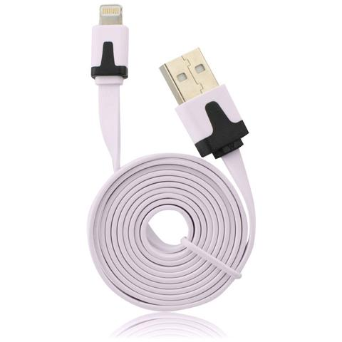 P.t.h.Gsm Usb Flat Cavo Iphone 5/5c / 5s / 6/6 Plus / ipad Mini Ios9 Compatibile Light Pink