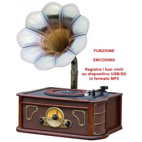 Image of Giradischi Con Grammofono Mp3 Usb Sd Aux Wood