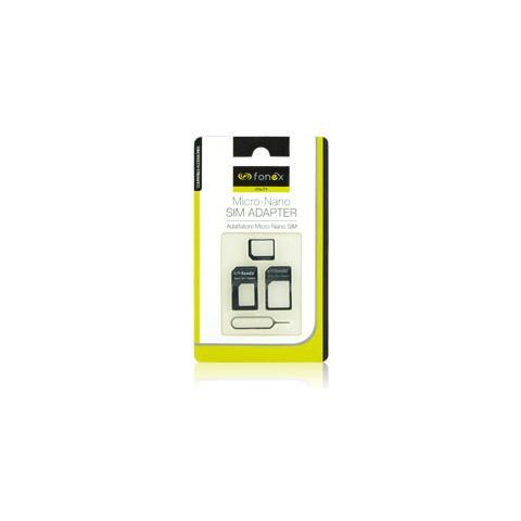 FONEX Adattatore Micro Sim / Nano-Micro Sim / Nano-Sim con Graffetta Colore Nero