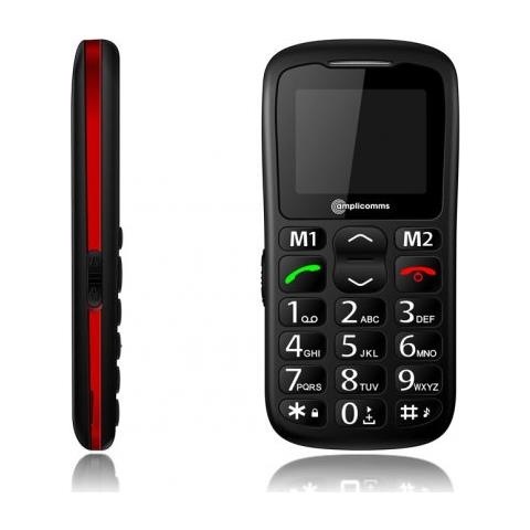 "Amplicomms PowerTel M6350 Senior Phone Display 1.77"" Micro SD con Tasti Grandi + SOS Colore Nero - Europa"