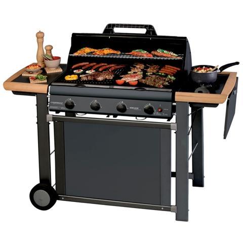 Barbecue a Gas in Acciaio con Griglia e Piastra di Cottura in Ghisa