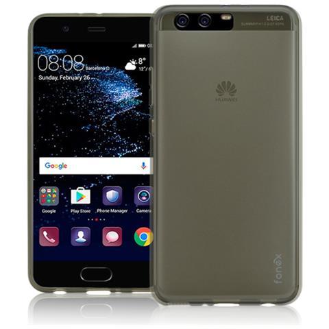 FONEX Pixel Cover Anti Urto 0,4 mm di Spessore in Morbido TPU per Huawei P10 Plus Colore Nero Trasparente