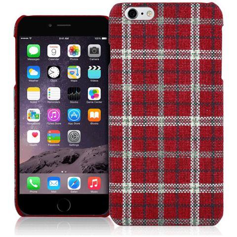 FONEX Tartan Cover Rigida in Tessuto con Texture Scozzese per iPhone 6/6S Colore Rosso