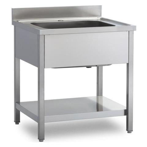 Lavello 100x60x85 Acciaio Inox 430 Su Gambe Ripiano Cucina Ristorante Rs4712