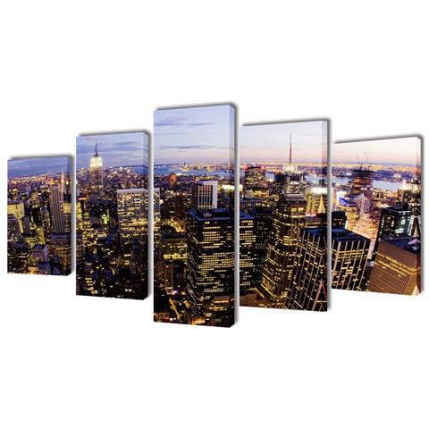 vidaXL 5 Pz Set Stampa Su Tela Da Muro Vista Dall'alto New York 200x100 Cm