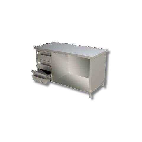 Tavolo 210x70x85 Acciaio Inox 430 A Giorno Cassetti Cucina Ristorante Rs4353