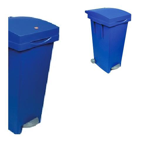Bidone quadro per raccolta differenziata con ruote e pedale blu