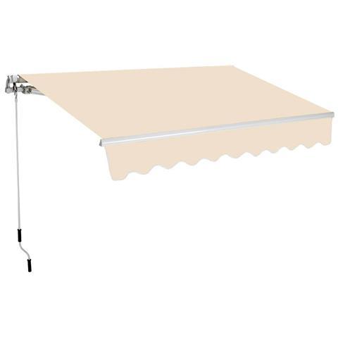 Tenda Da Sole Barra Quadra 200x250 Cm Tessuto In Poliestere Beige Unito