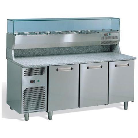 Banco pizza 3 porte refrigerato con piano in granito e vetrina portacondimenti (Gn 1/3)