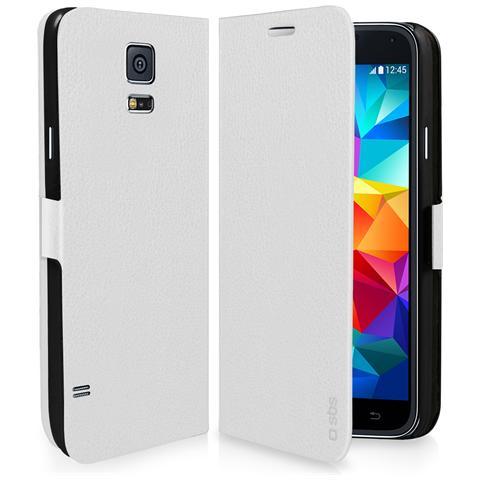 SBS Custodia Book Finitura Pelle Bianca Samsung Galaxy S5 Mini