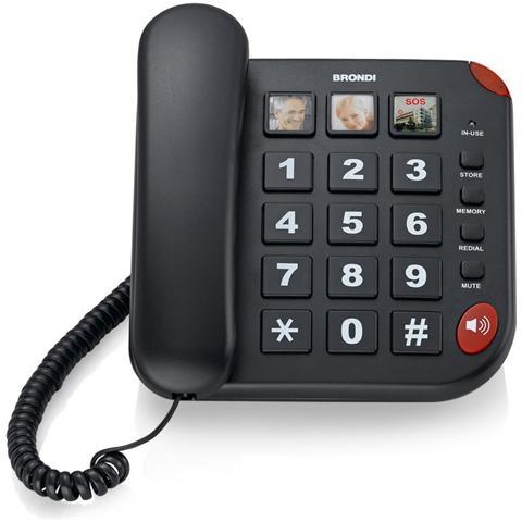 BRONDI Bravo15nero-telefoni Con Filo -telef. C / Filo V. Voce 10mem. +3mem. Dedicate Led Nero