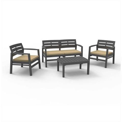 Set da Giardino 1 Divano 2 Poltrone e 1 Tavolino senza Cuscino Moka - Modello Java