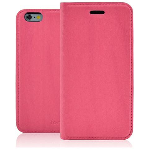 FONEX Classic Book Custodia a Libro In Ecopelle per iPhone 6/6S Colore Rosa