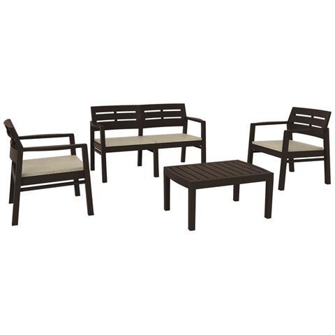 Set da Giardino 2 Sedie 1 Divano 1 Tavolo con Cuscini Colore Moka - Modello Java