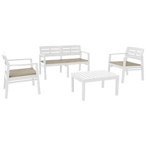 Set da Giardino 2 Sedie 1 Divano 1 Tavolo con Cuscini Colore Bianco - Modello Java