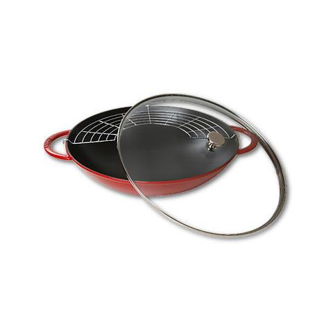 Wok in Ghisa con Coperchio in Vetro Diametro 37 cm Capacità 5.7 lt Colore Rosso Ciliegia