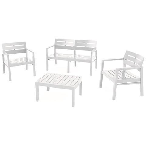 Set da Giardino 1 Divano 2 Poltrone e 1 Tavolino senza Cuscino Bianco - Modello Java