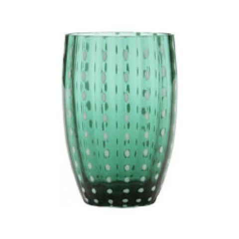Set 6 Bicchieri Tumbler In Vetro Ø 71 Mm H 109 Mm Capacità 32 Cl Colore Verde - Collezione Perle