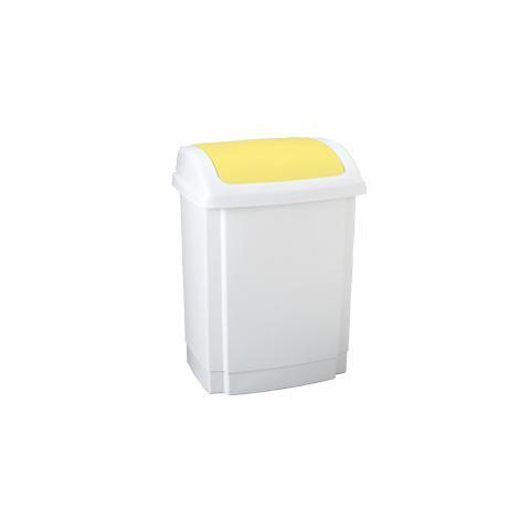 MEDIALINTERNATIONAL pattumiera a basculante rif 50lt in ppl bianco / giallo