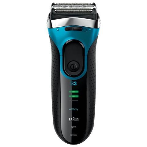 BRAUN Series 3 3080 Rasoio Elettrico MicroComb Wet&Dry Colore Nero / Blu