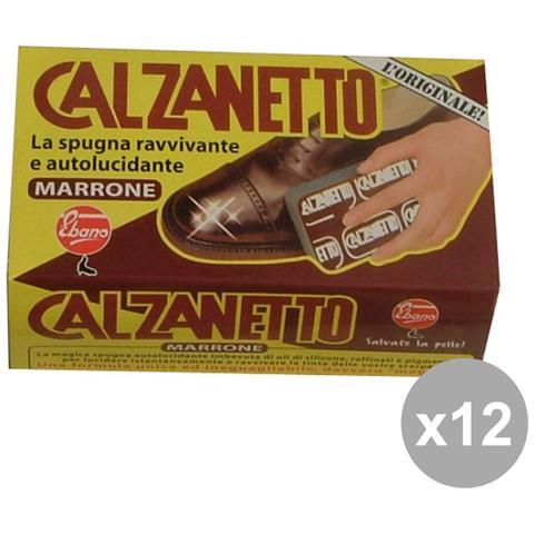 Calzanetto Set 12 Marrone + Autolucidante In Spugna Attrezzi Pulizie