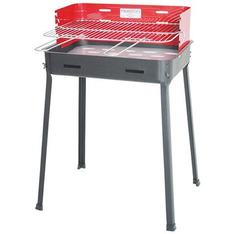 Barbecue griglia in acciaio cromato regolabile in 3 posizioni H 80x53x39
