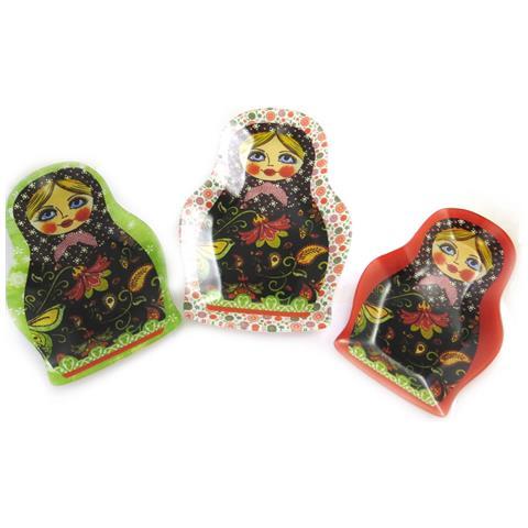 set di 3 vassoi nidificazione 'poupées russes' verde rosso - [ n1221]