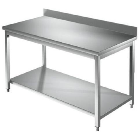 Tavolo 130x100x85 Acciaio Inox 304 Su Gambe Ripiano Alzatina Ristorante Rs5665