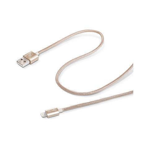 CELLY Cavo dati USB con connettore Lightning 2.1A M / M 1m - Oro