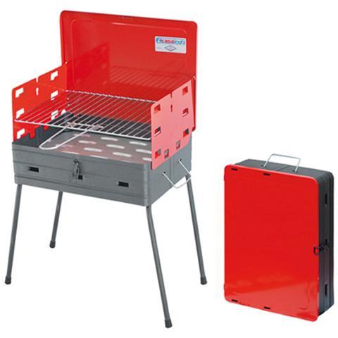 Barbecue con Paravento laterali, richiudibile in valigetta H 48x41x30 cm