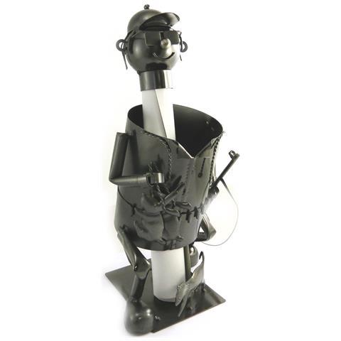 Les Trésors De Lily portabottiglie 'sculpture métal' cacciatore - [ m9885]