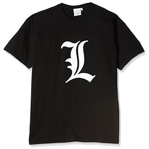 "Lobcede.be Abystyle - Death Note - Tshirt - """"l Simbolo"""" - Uomo - Nero (s)"