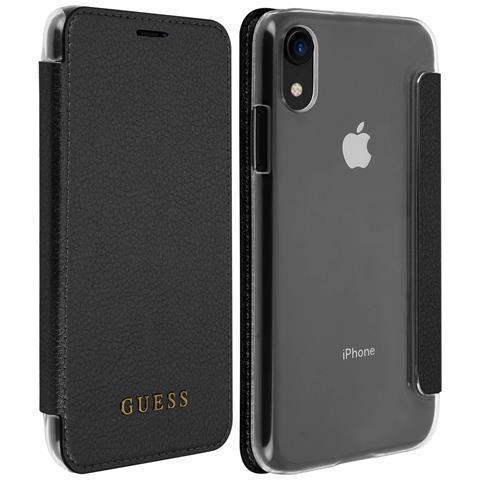 Custodia Iphone Xr Modello Portafoglio In Texture Guess - Nero