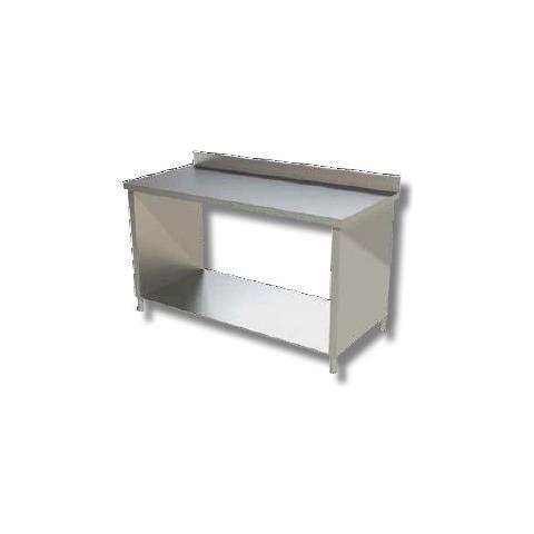 Tavolo 130x70x85 Acciaio Inox 430 Su Fianchi Ripiano Alzatina Ristorante Rs4135