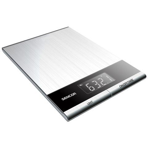 Bilancia Digitale da Cucina con Superficie in Acciaio Inox Portata 5 Kg Colore Inox