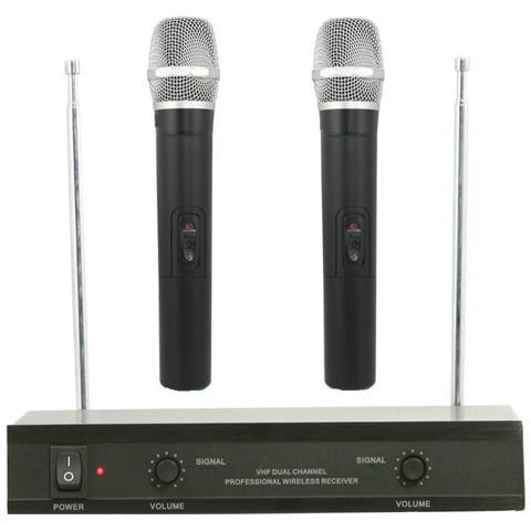Image of Kit Coppia Microfoni Professionali Wireless Con Centralina Vhf Bicanali Vhf200