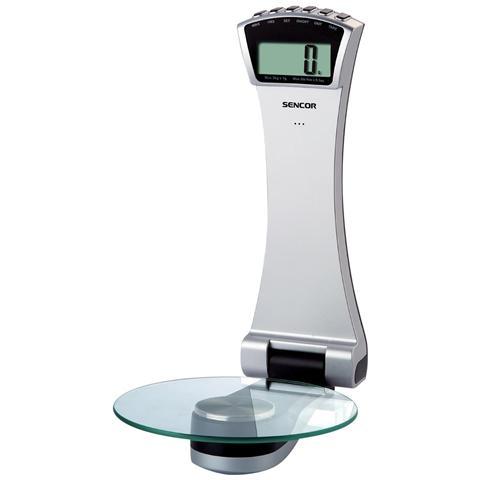Bilancia Digitale da Cucina con Superficie in Vetro Temperato Portata 3 Kg Colore Argento