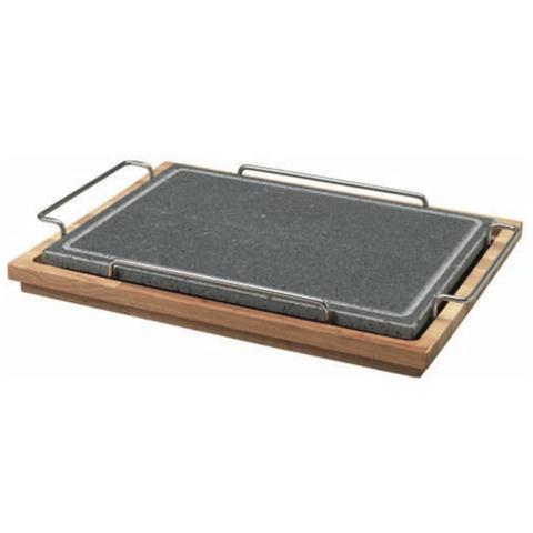 Pietra Quadrata 29x40 Con Supporto In Acciaio E Basamento In Legno - Misura Cm 29x40