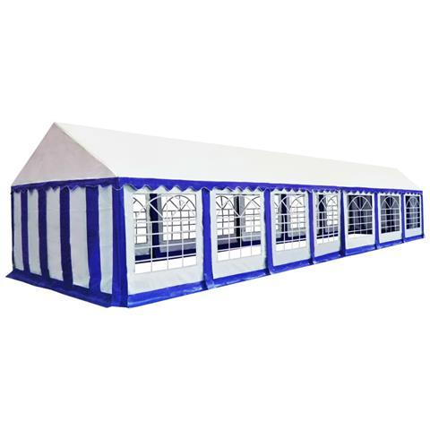 Gazebo Da Giardino In Pvc 6x14 M Blu E Bianco