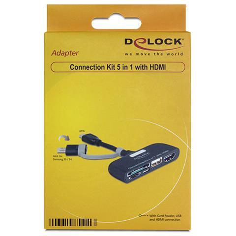 DeLOCK 65511, MHL, USB-A, USB Micro-B, SD / SDHC, microSD, HDMI-A, Maschio / femmina, Nero, Samsung Galaxy S2 (GT-I9100) , S3, S4, Galaxy Note, Galaxy Note 2, HTC One