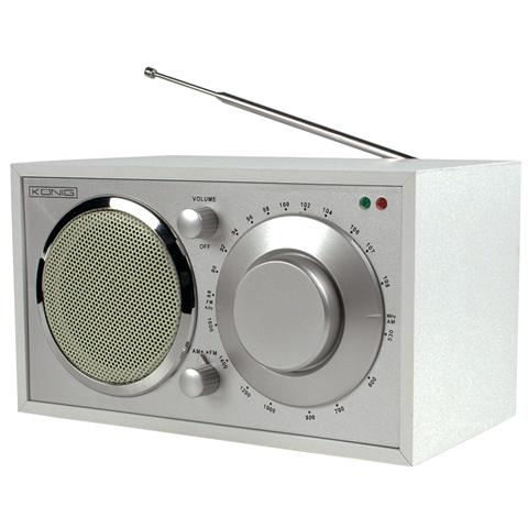 KONIG Radio AM / FM portatile dal design retrò. Colore bianco, manopola rotante.