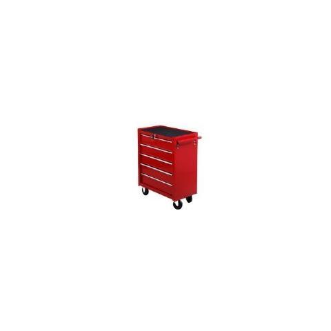 HOMCOM - Carrello da officina a 5 cassetti con ruote rosso 405ab0181981