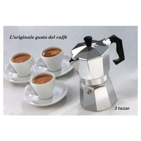 Caffettiera Moka 3 Tazze Classica Welkhome CaffਠEspresso Fatto In Casa Manico Plastica