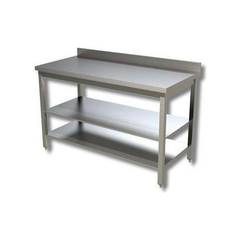 Tavolo 130x60x85 Acciaio Inox 430 Su Gambe Ripiano Alzatina Ristorante Rs3994