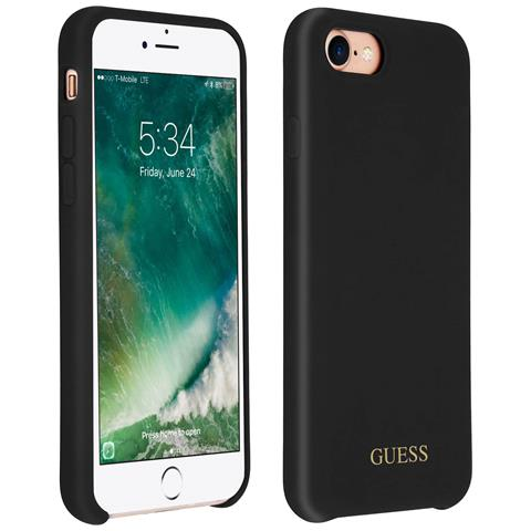 Cover Iphone 7 / 8 Silicone Gel Interno Soft-touch Guess Effetto Velluto - Nero
