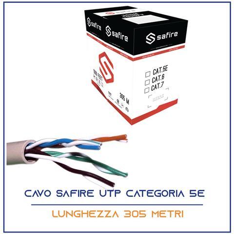 Image of Cavo Rete 305 Metri Ethernet Utp Cat 5e 4x2 Awg 24 Lan Rj45 Safire