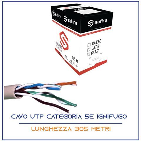 Image of Cavo Rete 305 Metri Ethernet Utp Cat 5e 4x2 Awg 24 Lan Rj45 Ignifugo