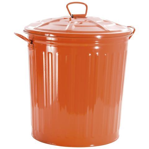 Bidone In Metallo Colorato Con Capacità 35 Lt. Arancio